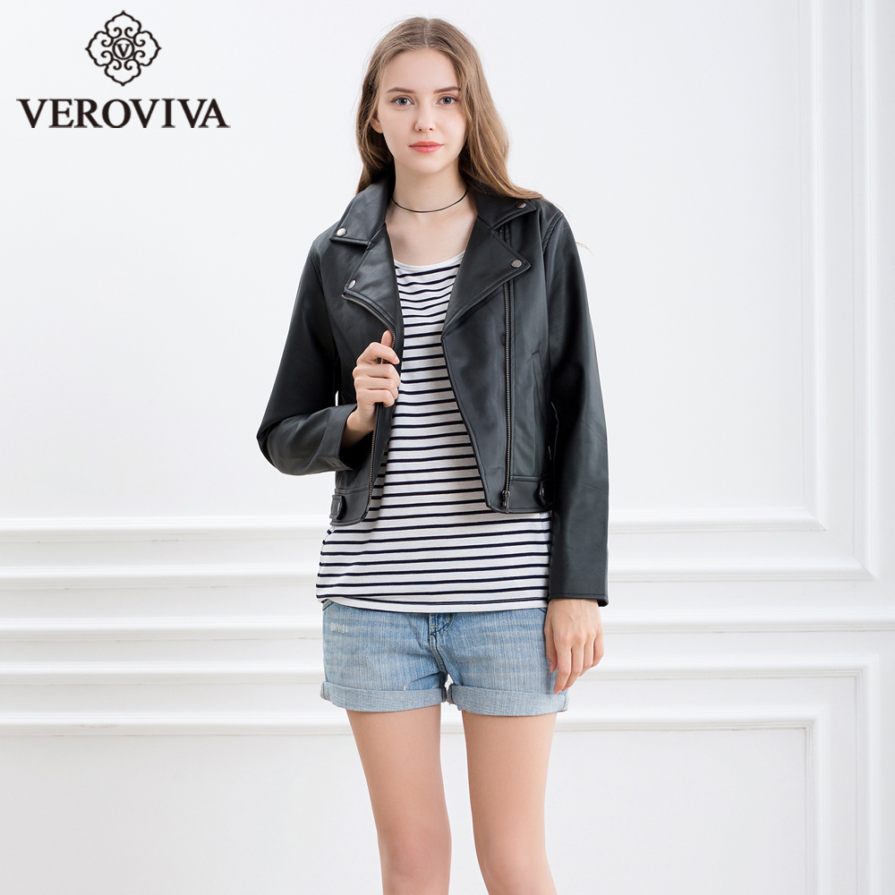 Veroviva Women Autumn Black Pu Leather Bomber Jacket Winter Moto Jaket Kulit Bikers Style Biker Basic Zipper Female Outwear Coats Streetwear In Suede From Womens