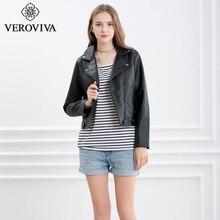 VEROVIVA Women Autumn Black PU Leather Bomber Jacket Winter Moto Biker Jacket Basic Zipper Female Outwear