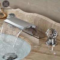 2018 New Dual Handle Waterfall Bathtub Mixer Faucet Set Deck Mount Bathroom Tub Basin Sink Faucet Chrome Finish