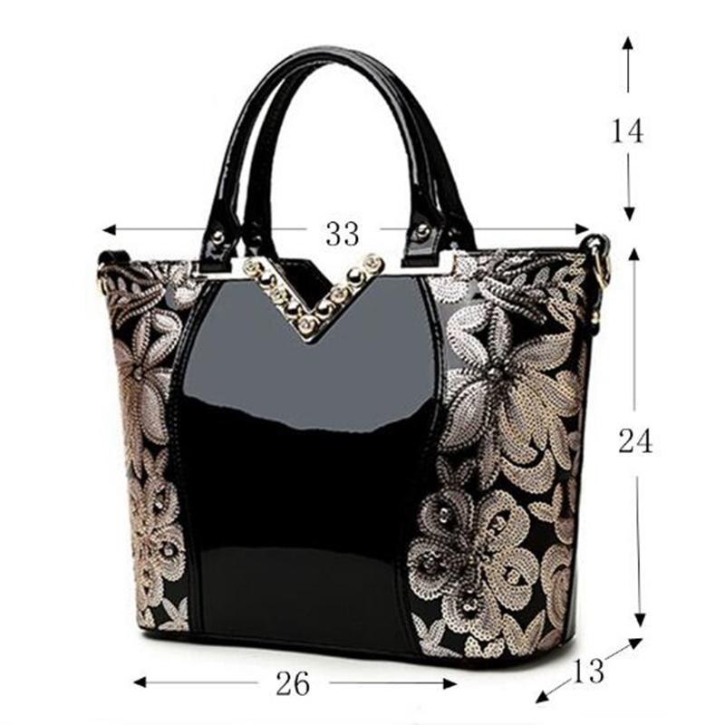 Prix pour 2017 Femmes En Cuir Verni Sacs À Main De Luxe Sequin Broderie Célèbre Marque Designer Diamant Épaule sacs Messenger Bolso Mujer