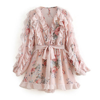 Women Floral Pattern Chiffon Playsuits Pleated Design Long Sleeve Rompers Jumpsuits FFZLT8