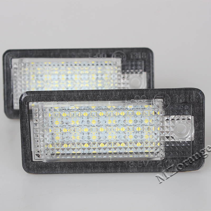 Car-styling 5W Car LED Number Plate Light Auto License Plate Lamp For Audi A3 A4 A6 A8 Q7 RS4 RS6 18 LED Bulbs 6500K 1Pair Black cawanerl car canbus led package kit 2835 smd white interior dome map cargo license plate light for audi tt tts 8j 2007 2012