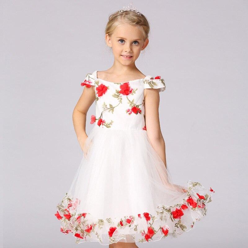 66f65e9924 Aplikacje Uprząż Słowo Kołnierz Sukienki Komunijne Dla Dziewcząt Z  Realistyczne Floral Dzieci Prom Dresses Dziewczyny Letnia Sukienka T323