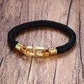 Fashion Jewelry Mens 6mm Wide 19cm Black Nylon Rope Bracelet Number 6 Stainless Steel Buckle Easy Hook Bracelets Bangle for Men