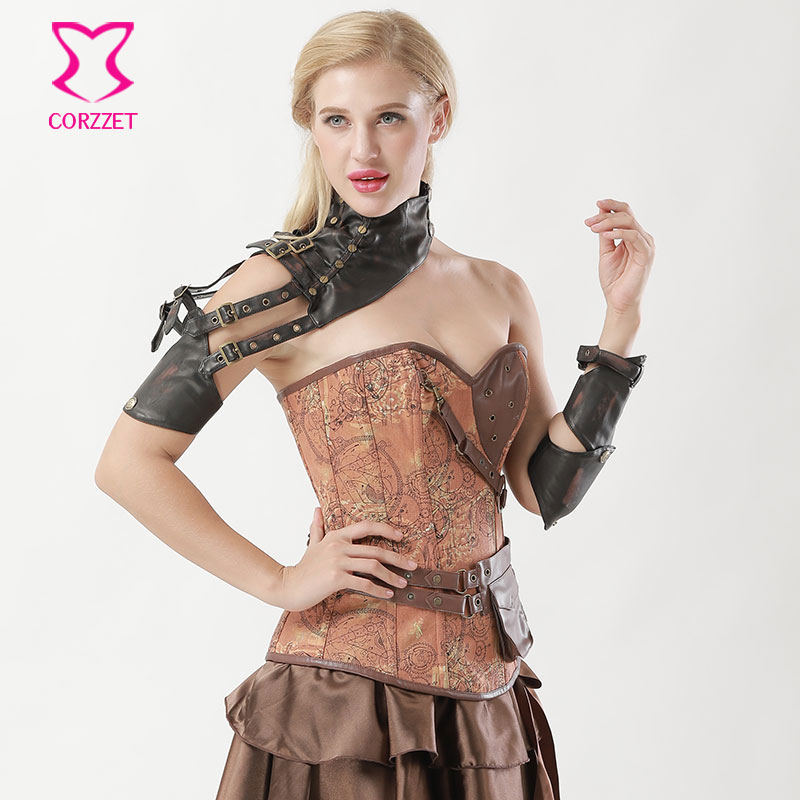 Retro Punk Brown PU Leather Buckle Belt One Shoulder Steampunk Arm Armor Sleeve Changeable Arm Sheath Gothic Corset Accessories
