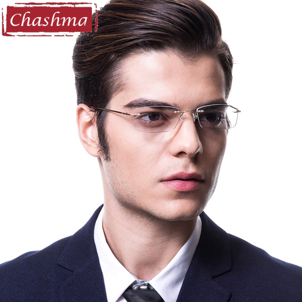 Chashma Rimless Titanium Alloy Ultra Light Weight Myopia Briller Optiske øjenbriller til mænd
