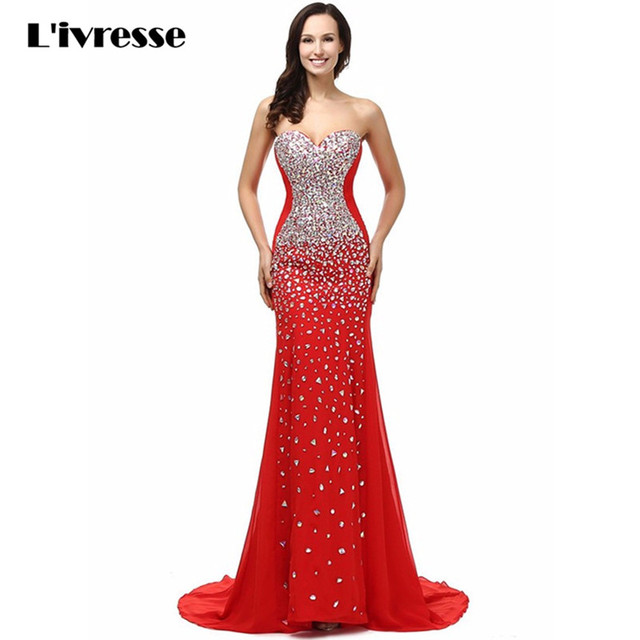 Real Pictures Abendkleid Crystal Red Mermaid Prom Dress Off The ...