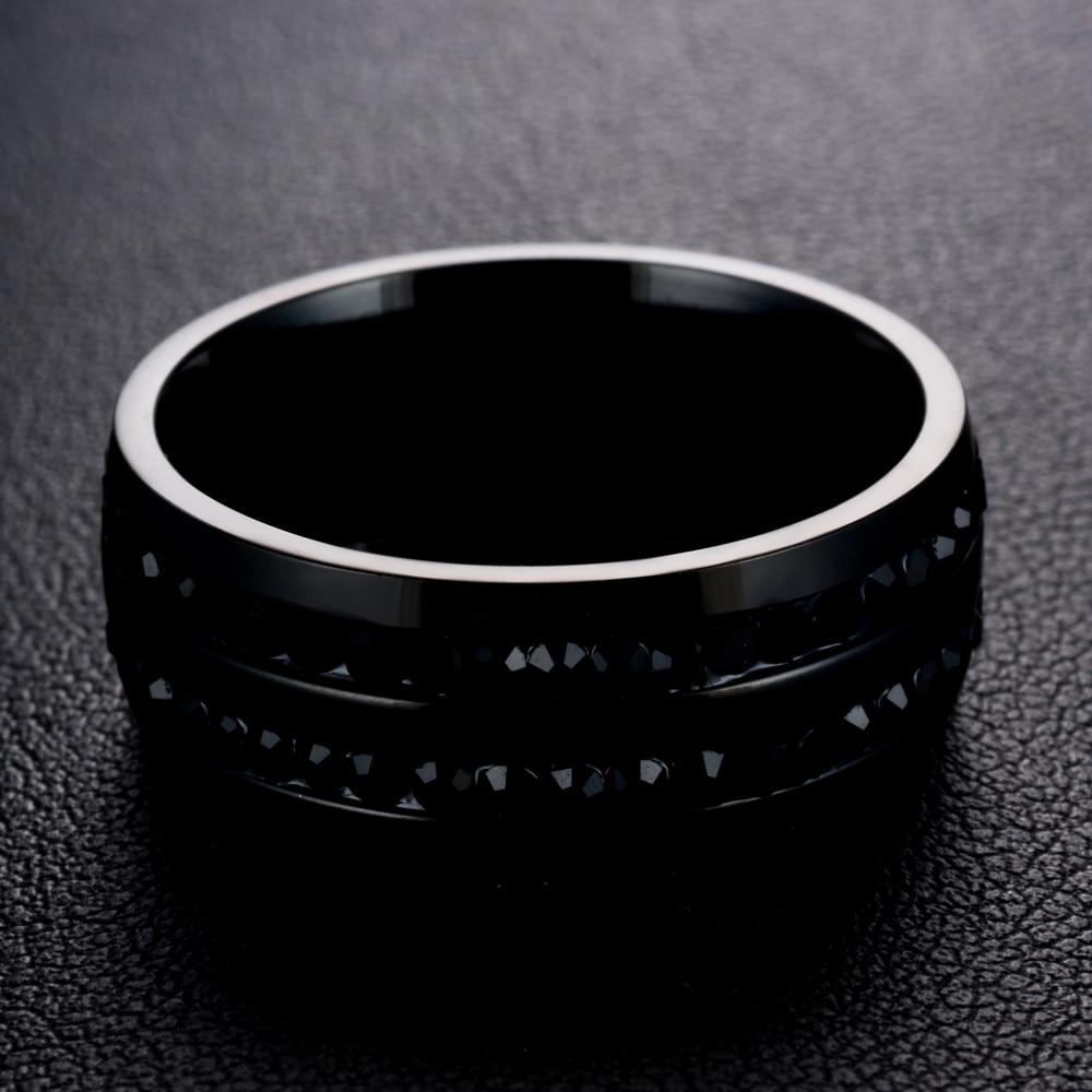 eejart Black Crystal Rings For Women Stainless Steel Rhinestone Wedding Ring