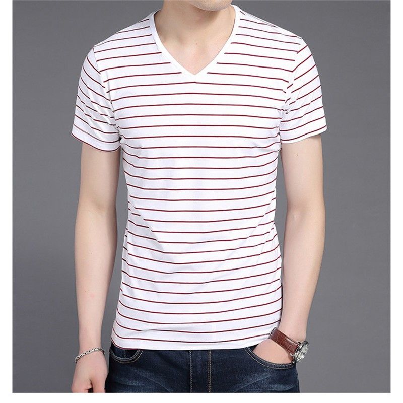 Liseaven New Men V Neck Striped T-shirt Short Sleeve tshirt Fashion Men's tees Clothing 9