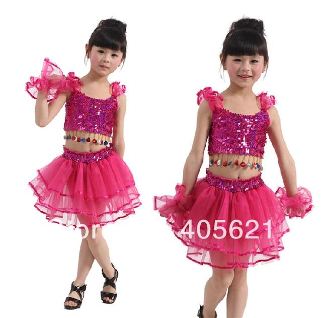 f3353510550f 2018 Girls Sequined Veil Belly Dance Tutu Skirt Children s Dancewear ...