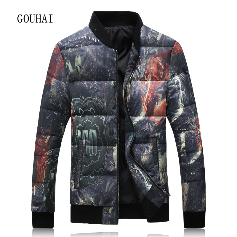 Winter Jacket Men White Duck Down Jacket Men 2017 Fashion Print Warm Short Coat Man Light Down Men Parka Homme Plus Size 4XL 5XL