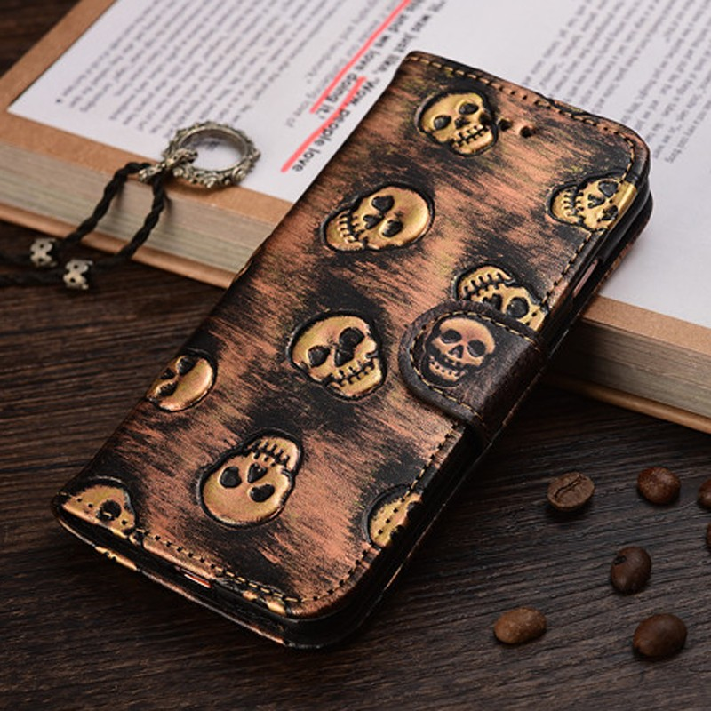 Retro Skull Magnetic Flip Leather Stand Case Cover For iPhone 7 Plus 6 6S Plus 5 5S SE Wallet Card Holder Pouch Phone Cases