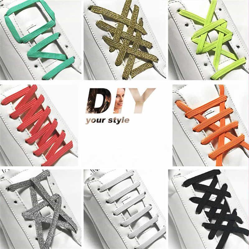 แบน Shoelaces ยืดหยุ่น Silver Clasps แม่เหล็กหลายสี Laces Magnetic Buckle 100 cm เปลี่ยน Shoelaces