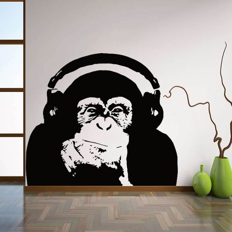 Thinking gorilla Wall Decals Art design home decoration Vinyl monkey music Wall Sticker Bedroom Wall Art Mural L131