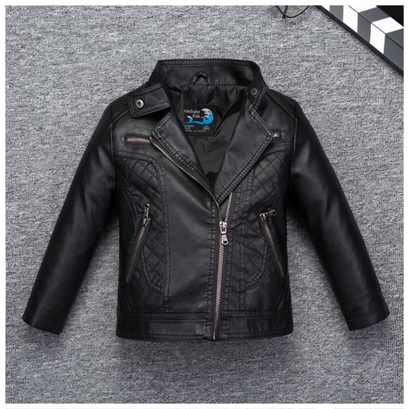 Grid Stylish Design Boys Leather Jacket Turn Down Collar Windbreaker Leather for Fall Spring Kids Motor Coat Bomber Clothes stylish turn down collar long sleeve spliced cape coat for women