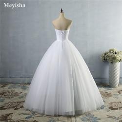 ZJ9040 2019 strapless diamond White Ivory formal Crystal Beads Wedding Dresses 2018 Bridal Dress plus size elegant wholesale 3
