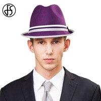 FS Male Purple Orange Vintage Australian Wool Felt Fedora Hats England Style For Men And Women