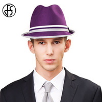 FS Male Purple Orange Vintage Australian Wool Felt Fedora Hats England Style For Men And Women Autumn Winter Trilby Jazz Caps