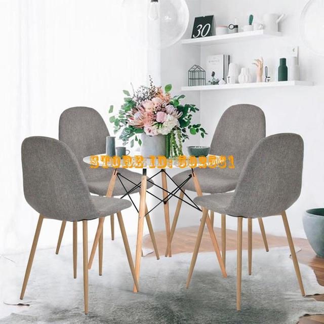 4pcs Dining Chairs Retro Seat Fabric Set Metal Leg Kitchen Dining Room Furniture Grey dropshipping