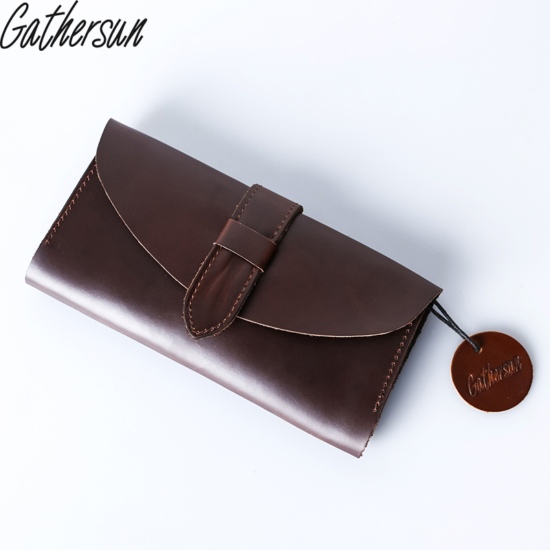 2017 Limited Genuine Leather Vintage Real Leather Wallet Ladies Long Purse Handmade Card Holder Unisex Clutch Bag Retro Style gathersun brand handmade 2017 original design genuine leather men wallet vintage style large capacity long purse clutch wallet