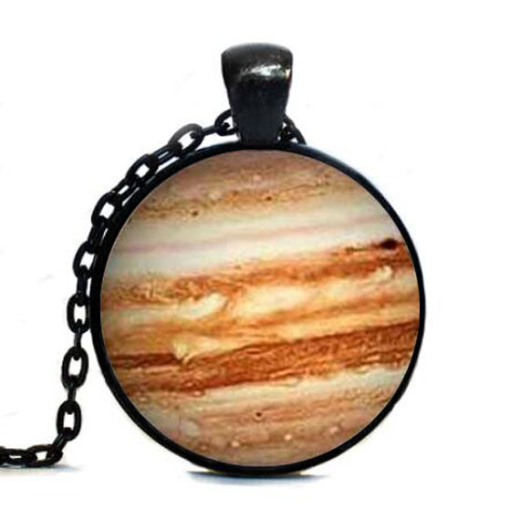 Steampunk Free shipping Jupiter Necklace Glass Pendant Orange Planet Pendant Science Jewelry Geek Jewelry Space Necklace