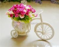 Ücretsiz Kargo düğün sıcak pembe yapay İpek gül çiçek + pembe kelebek saten kurdele ile el yapımı rattan üç tekerlekli bisiklet vazo
