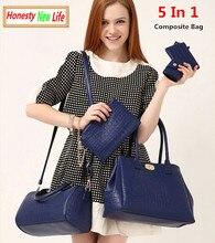 Vintage Crocodile 5 in 1 Composite Designer Bag women zipper famous brand ladies leather handbags high quality carteras mujer49