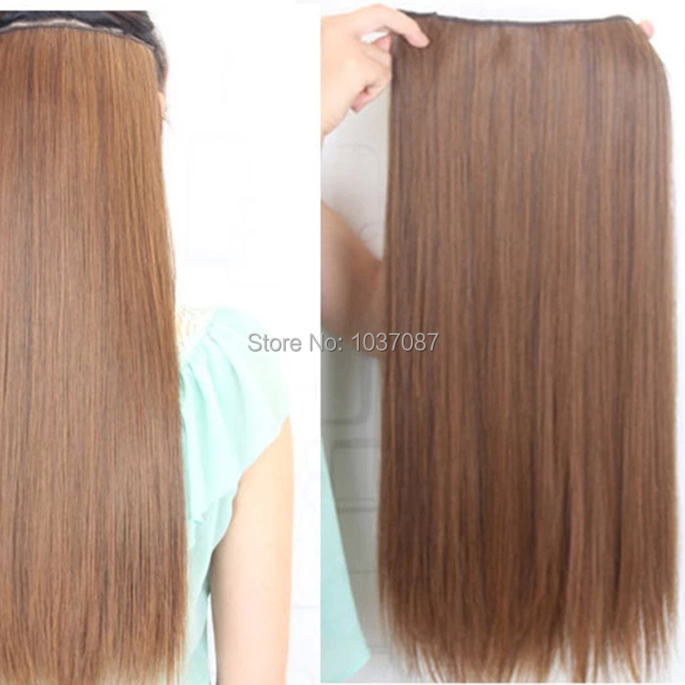 60 Cm Female Clip In Hair Extensions Women Fashion Long Straight