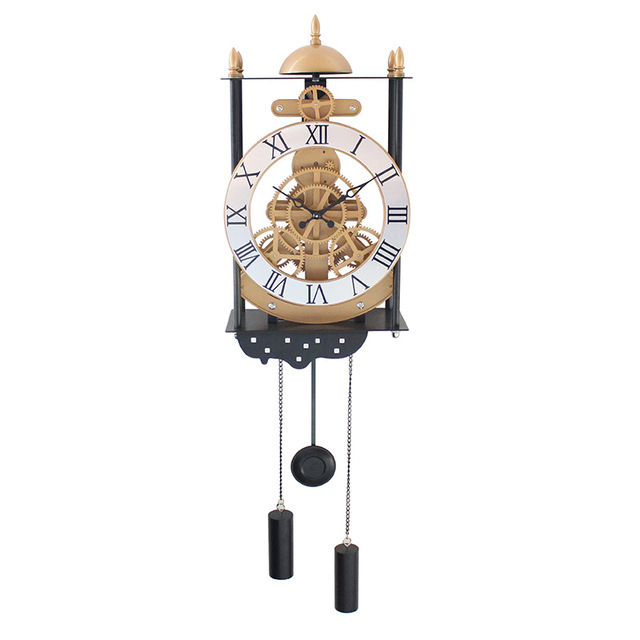 New Bird Cage Model Gear Pendulum Clock Fashion Creative Wall Clocks Hanging Pendulum European Style Living Room