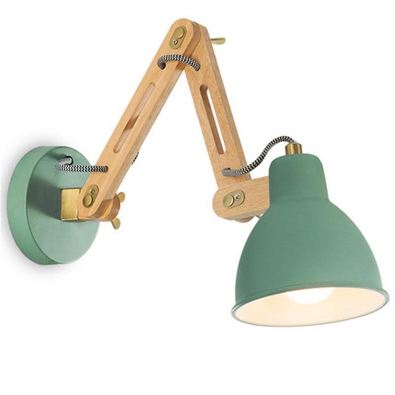 Loft Style Adjust Wall Sconce Modern LED Wall Light Fixtures Iron Wood Telescopic Long Arm Bedside Wall Lamp Home Lighting