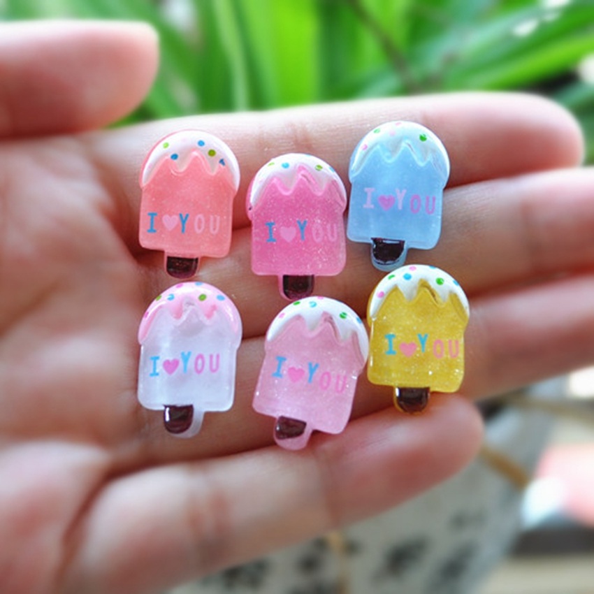 30pcs/Lot Flat Back Resin icecream Kawaii Icecream Accessory Cabochons Botoes Resin Food For DIY Decoration - Mixed 10 Deisgns