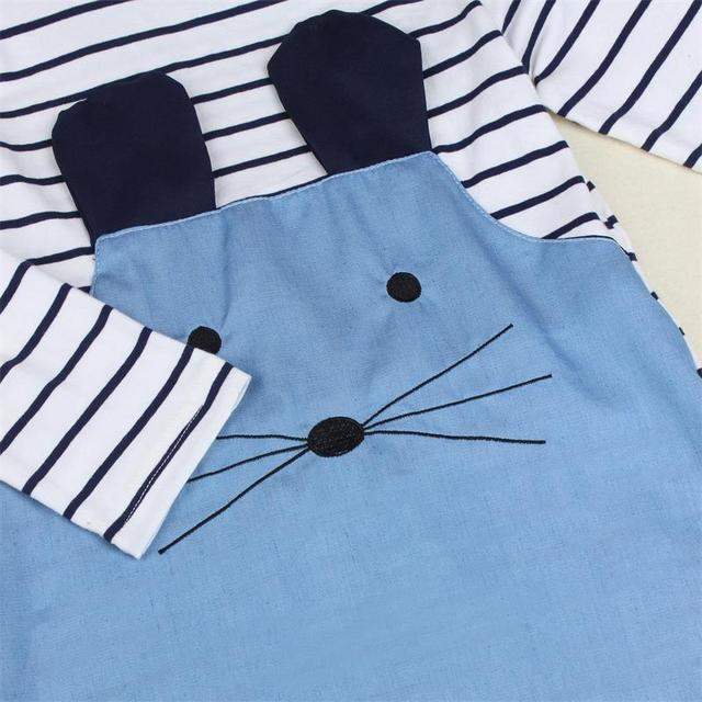 Cute Mouse Girl's Striped Patchwork Dress 2