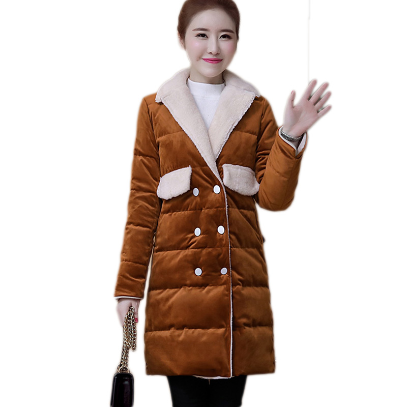 New Winter Coat Women Double breasted Gold velvet cotton Jacket Slim Turn Down Collar Parkas Fashion Warm Gold velvet cotton Coa europe 2015 new women winter coat slim turn down collar long double breasted leather match cotton jacket coat w20