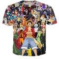 Más nuevo Hipster 3D camiseta animado camiseta camisetas mujeres hombres de verano camisetas Harajuku de dibujos animados de una pieza del mono D Luffy camisetas de las camisetas