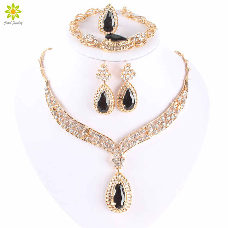 Fashion Crystal Necklace Collar Jewelry Sets For Women Party Accessories African Beads Earrings Bracelet Ring Sets Vintage Black