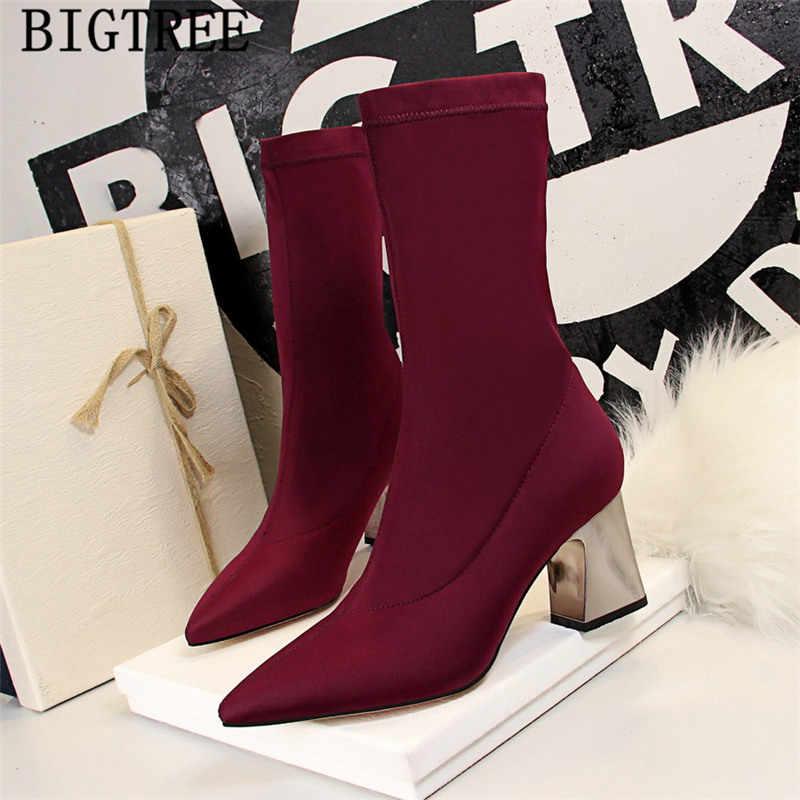 Bigtree yüksek topuklu ayakkabı çizmeler kadın sivri burun yüksek topuklu kadın yarım çizmeler seksi botlar tasarımcı topuklu chaussures femme buty
