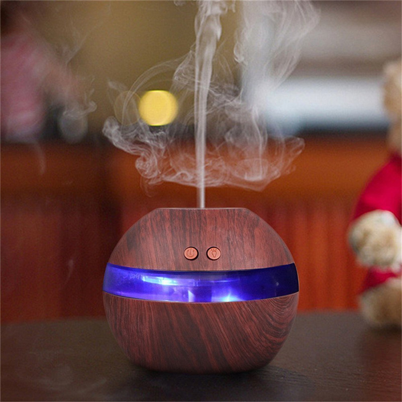 USB Ultrasonic Humidifier 300ml Aroma Diffuser Mini Essential Oil Diffuser Aromatherapy Mist Maker with LED Light Wood grain