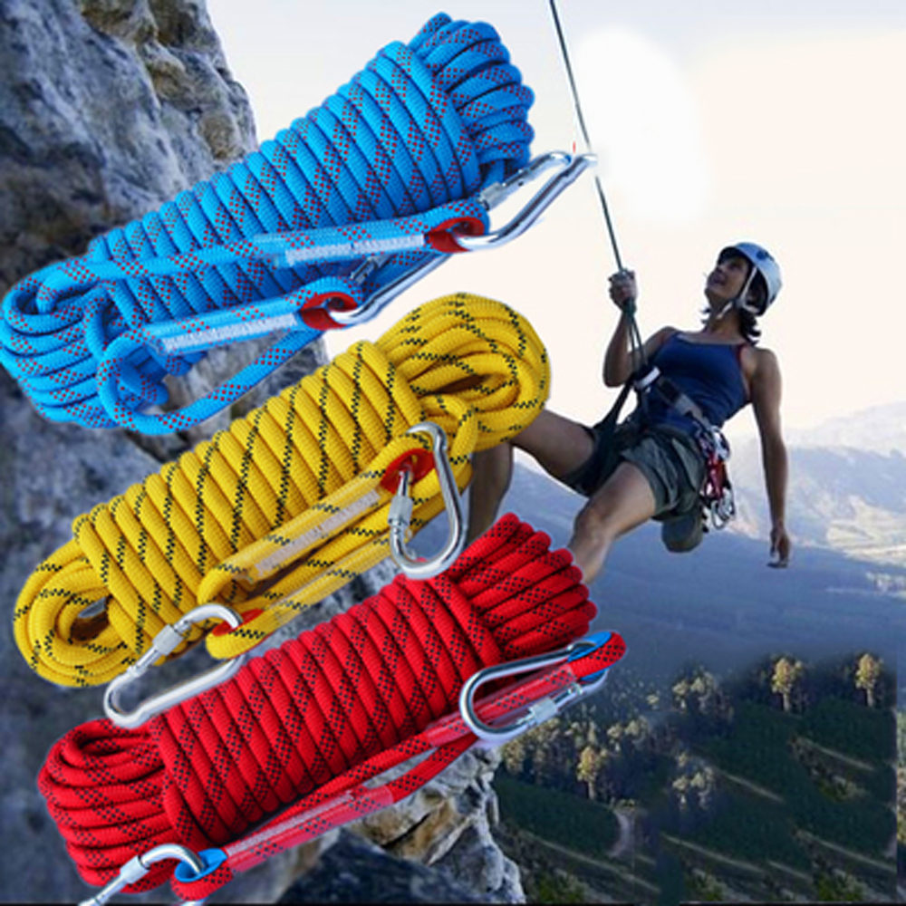 Rock Climbing Rope 10mm Tree Wall Climbing harness Gear Outdoor Survival Fire Escape Safety Rope Hike Carabiner 10m 20m 30m