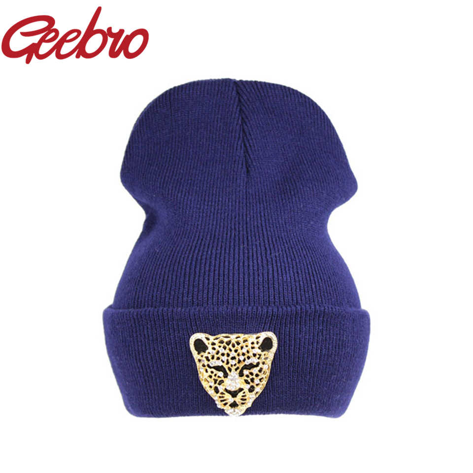 69a4c1f720c Detail Feedback Questions about Geebro New Design Leopard Crystal Diamond Women s  Beanies Female Warm Knitted Hat Hip Hop Cute Winter Caps Bonnet Gorros ...