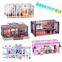 лучшая цена HK Nanyuan 3D Metal Puzzle Theme cottage building model educational DIY 3D Laser Cut Assemble Jigsaw Toys gift for children