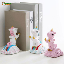 Resin Book Holder for Reading Cartoon Unicorn Bookends Restoring Ancient ways Desktop Decor Bookends for Christmas Gifts book holder for reading creative metal book clip bookstand london telephone booth iron bookends cartoon stationery a pair of pcs