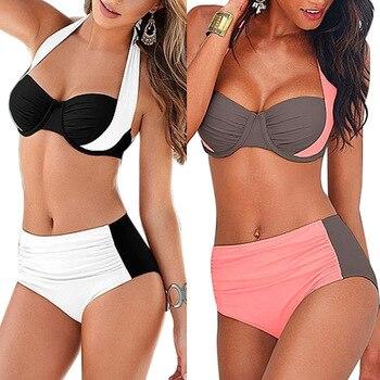 Brazilian 2018 Sexy Bikini Women Push-up Padded Bra High Waisted Bathing Suits Swim Halter Push Up Bikini Set Plus Size Swimwear 3