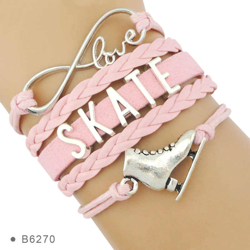 High Quality Live Your Dream Infinity Love to Skate Figure Skating Shoes Friendship Gifts Bracelets for Women