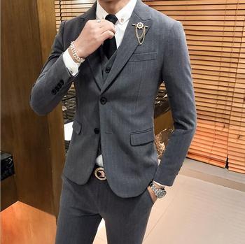 Suit for Men 3 Pieces Sets for Men Khaki Groom Wedding Suit Slim Fit Shawl Collar Prom Business Work Suits
