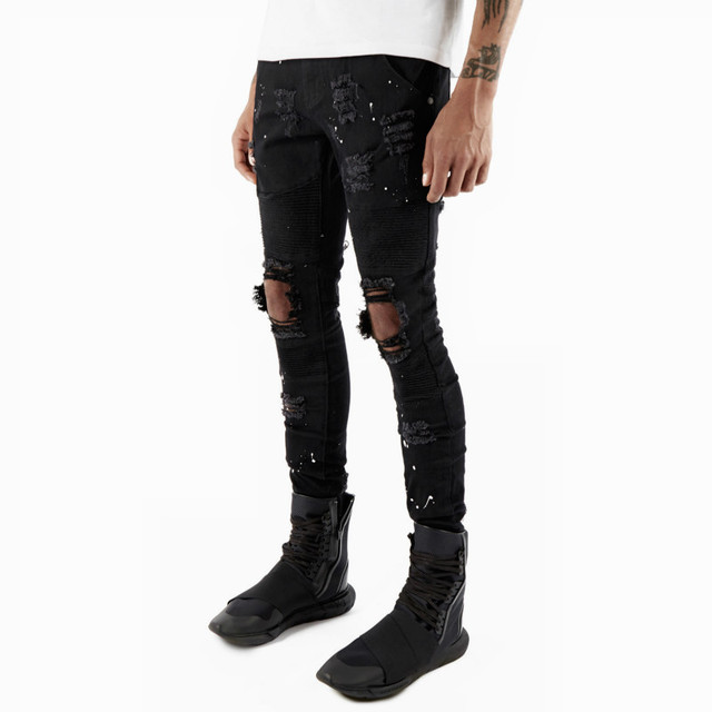 Aliexpress.com : Buy 2017 new Men Jeans Ripped Hole Biker Denim ...