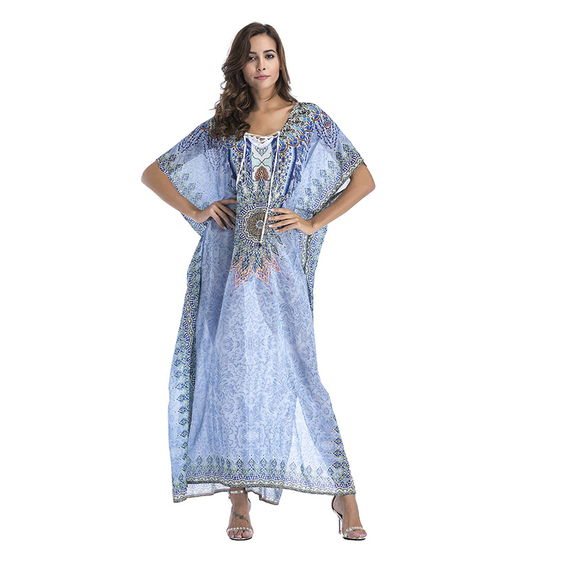Plus Size Womens Maxi Sundress Kaftan Dress Print Floral Bohemian Side Slit Gown Beach Dress Female Sexy Loose Robes 2019 Summer