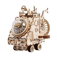 DIY 3D Space Vehicle Creative Robotime Dog Wooden mechanical Music Box Assembly Toy Space Vehicle Wooden Puzzle Game For Kids