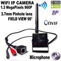 HI3518C Mini 960 P Sem Fio wifi mini câmera Com microfone 3.7mm Lens H.264 Onvif de 1.3 MegaPixels câmera de segurança CCTV câmera