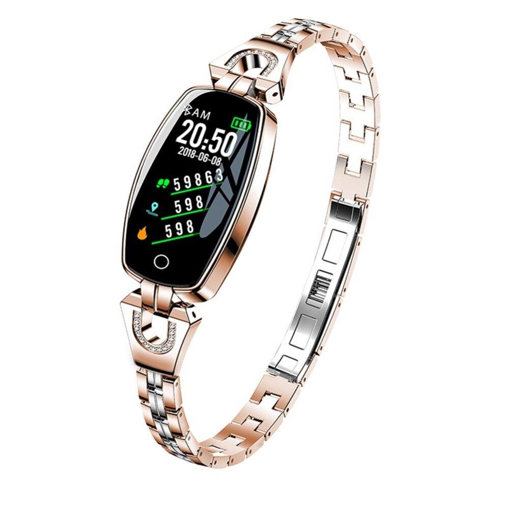 Outils de plein air bracelet intelligent H8 dames HD couleur écran métal sangle sport sommeil montre femmes bracelet Bluetooth montre