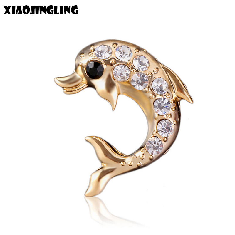 XIAOJINGLING Fashion Dolphin Brooches Charm Crystal Fashion Women Jewelry Men Suit Brooch Pins Christmas Gifts Sweater Accessory